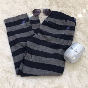 Gap Navy blue and gray striped cropped pants 4